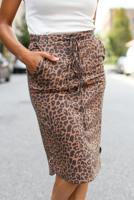 Leopard - Soft Knit Leopard Midi Skirt from Dress Up