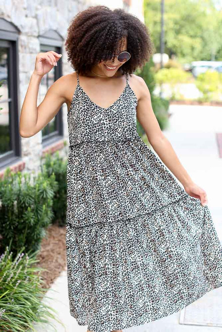 Leopard - Tiered Leopard Midi Dress from Dress Up