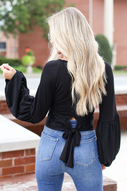 Black - Eyelet Statement Sleeve Top from Dress Up
