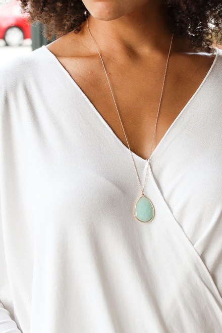 Mint - Model wearing a Pendant Necklace