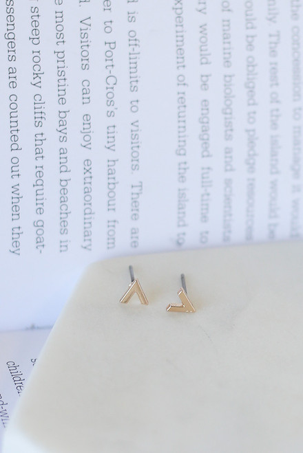 Gold - V-Stud Earring Set from Dress Up