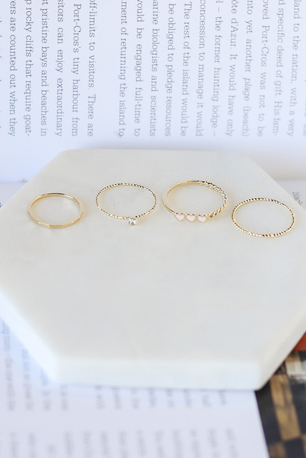 Gold - Heart Ring Set