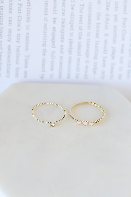 Gold - Heart Ring Set from Dress Up