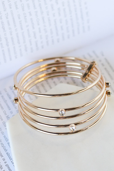 Gold - Rhinestone Bangle Set from Dress Up