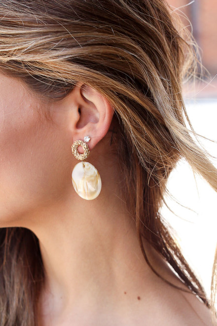 Taupe - Model wearing Acrylic Statement Earrings