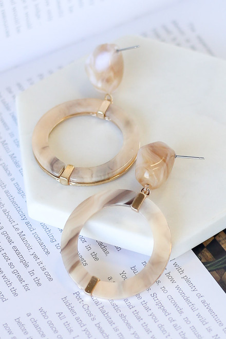 Taupe - Acrylic Statement Earrings from Dress Up