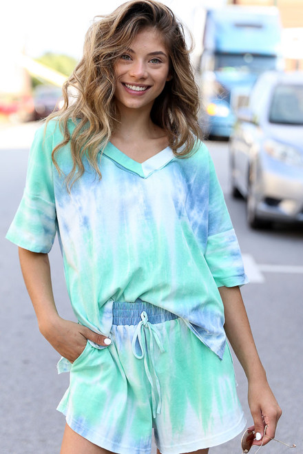 Mint - Oversized Tie-Dye Top