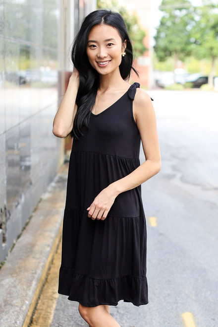 Black - Tiered Tie-Strap Dress