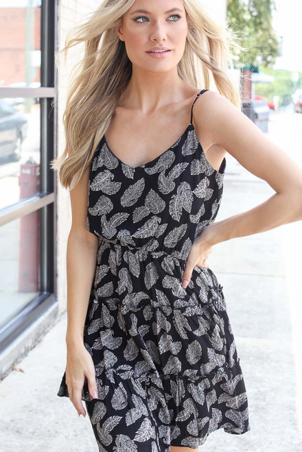 Black - Leaf Print Tiered Dress from Dress Up