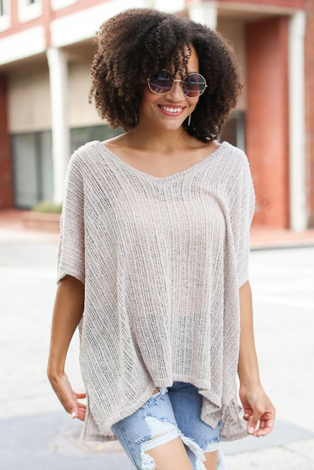 Taupe - Oversized Lightweight Knit Top