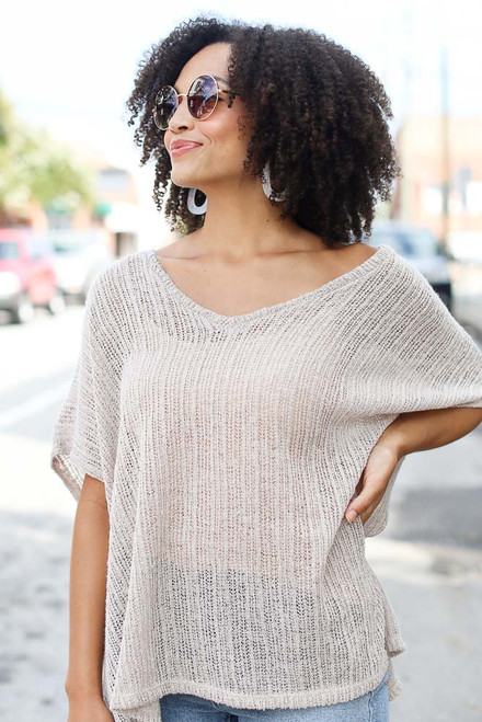 Taupe - Oversized Lightweight Knit Top from Dress Up