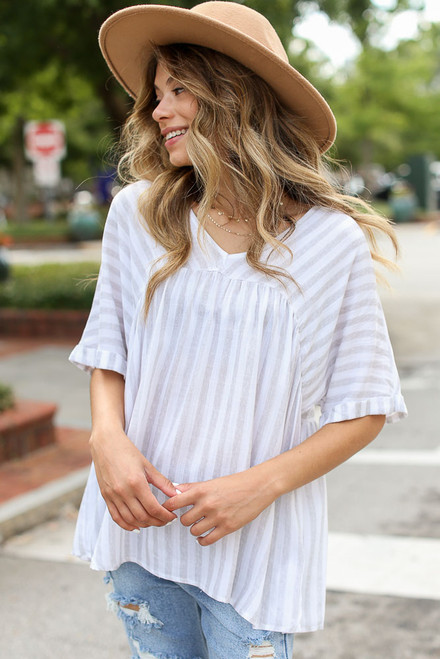 Grey - Striped Babydoll Top