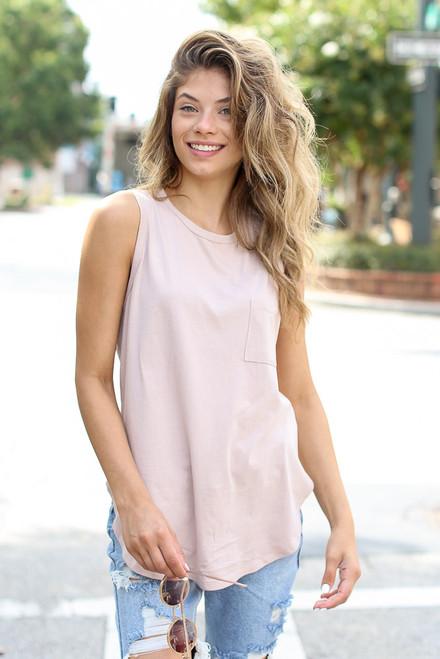 Blush - Front Pocket Tank