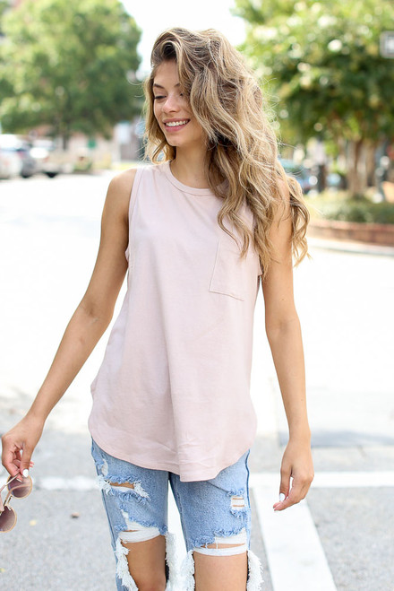 Blush - Front Pocket Tank from Dress Up