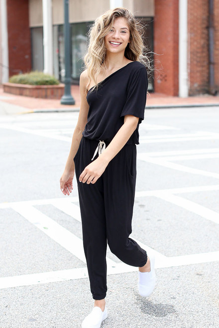 Black - One-Shoulder Jumpsuit