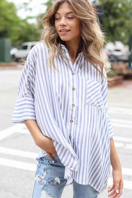 Blue - Striped Oversized Blouse