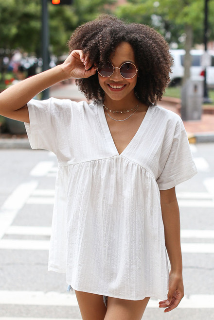 Ivory - Textured Babydoll Top