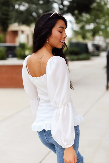 White - Smocked Statement Sleeve Top