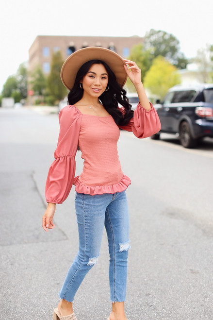 Marsala - Model wearing a Smocked Statement Sleeve Top