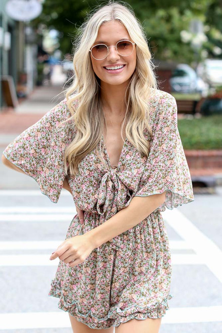 Sage - Floral Tie-Front Romper from Dress Up