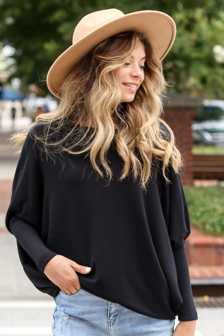 Black - Soft Knit Dolman Sleeve Top from Dress Up
