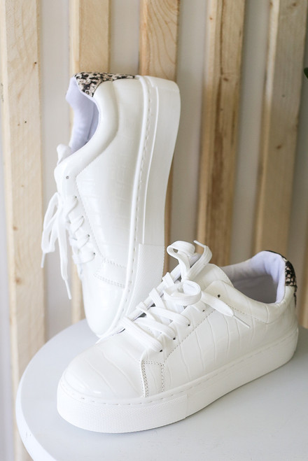 White - Crocodile Platform Sneakers