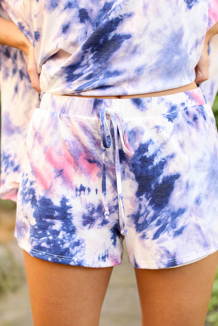 Blue - Tie-Dye Lounge Shorts