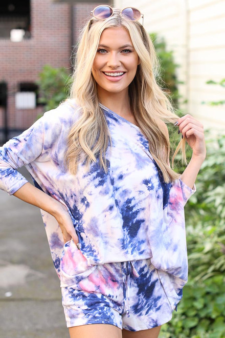 Blue - Oversized Tie-Dye Top