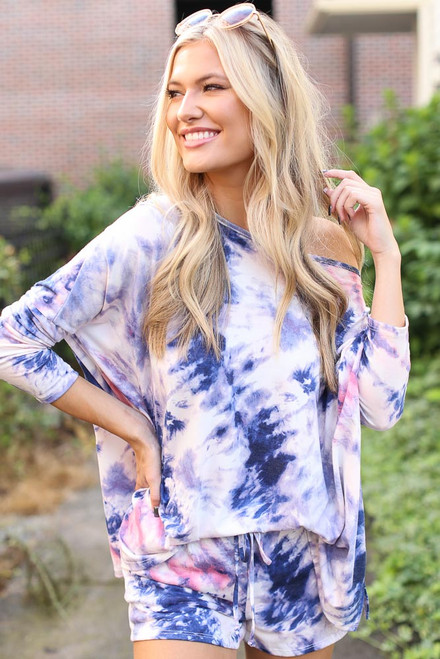 Blue - Oversized Tie-Dye Top from Dress Up