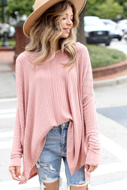 Mauve - Oversized Ribbed Knit Top