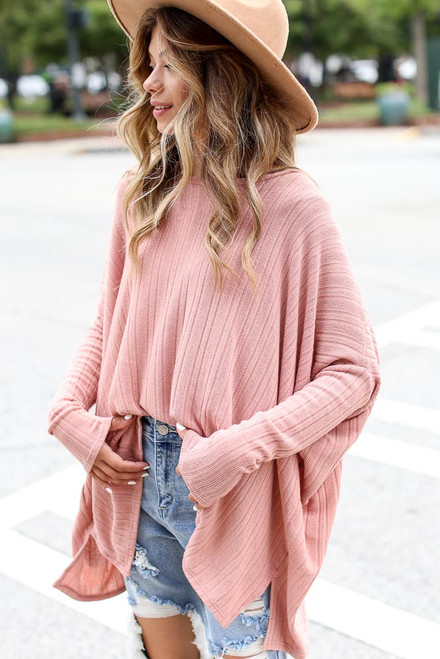 Mauve - Oversized Ribbed Knit Top from Dress Up