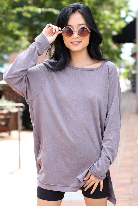 Grey - Model wearing an Oversized Top