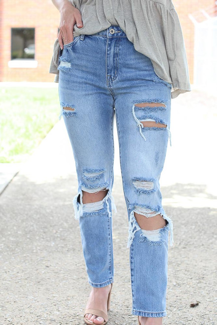 Light Wash - Distressed Straight Leg Jeans