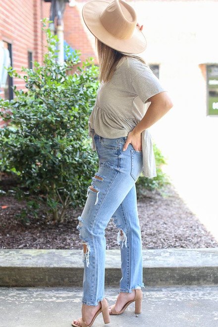 Light Wash - Distressed Straight Leg Jeans from Dress Up