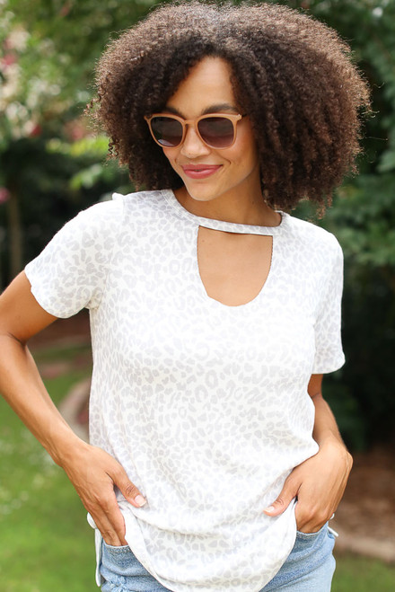 Ivory - Leopard Print Top