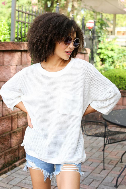 White - Oversized Waffle Knit Top from Dress Up