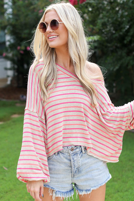 Taupe - Striped Balloon Sleeve Top