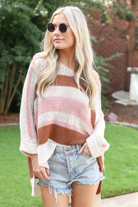 Blush - Striped Knit Sweater from Dress Up