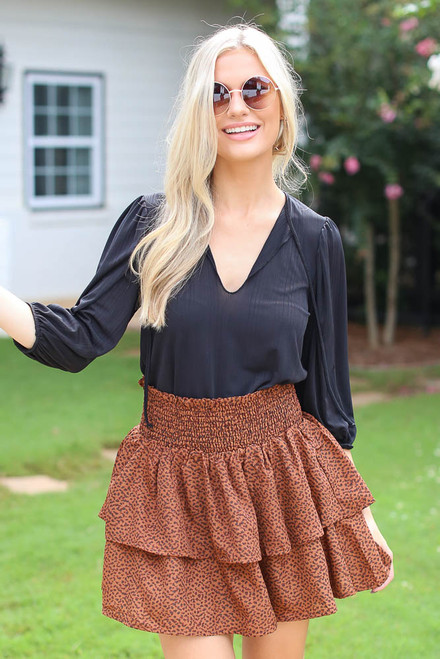 Brown - Spotted Tiered Skirt