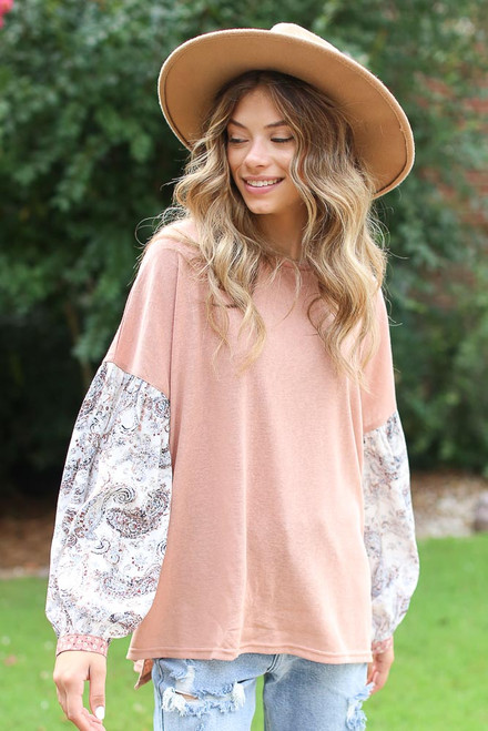Blush - Dress Up model wearing an Oversized Statement Sleeve Top