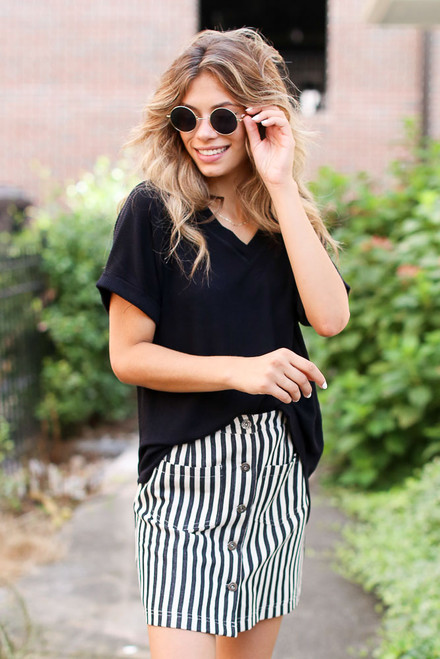Black - Striped Button Front Denim Skirt
