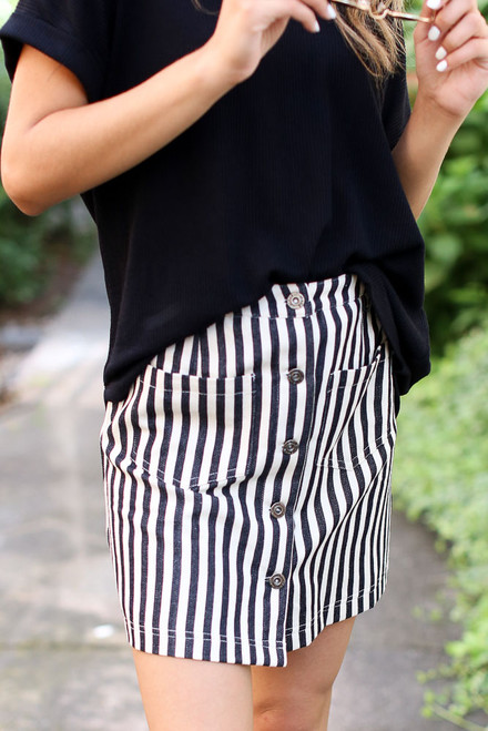 Black - Striped Button Front Denim Skirt from Dress Up