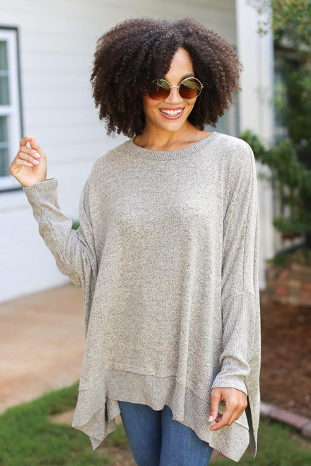 Taupe - Oversized Knit Top