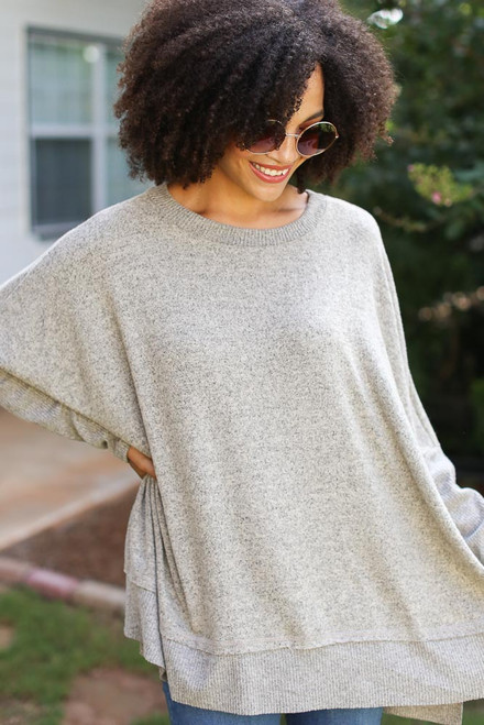 Taupe - Oversized Knit Top from Dress Up