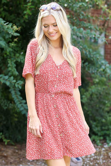 Red - Floral Button Front Dress