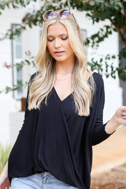 Black - Surplice Top