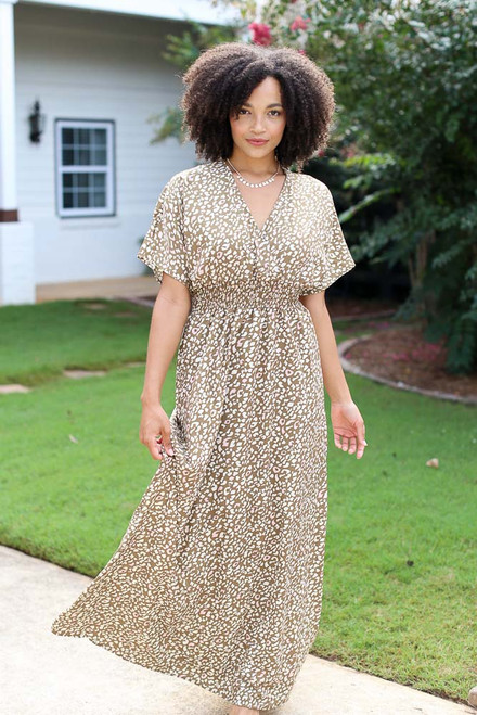 Taupe - Smocked Leopard Maxi Dress