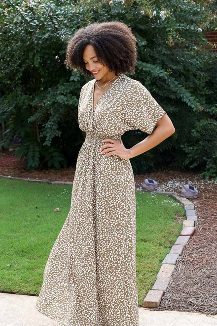 Taupe - Smocked Leopard Maxi Dress from Dress Up