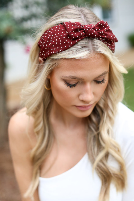 Burgundy - Polka Dot Knotted Headband
