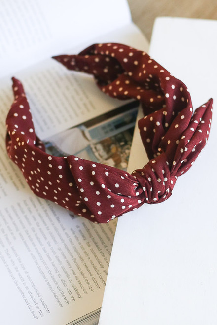 Burgundy - Polka Dot Knotted Headband from Dress Up